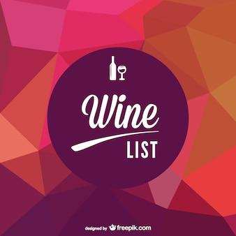 Carta de vinhos menu de geometria