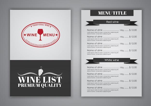 Carta de vinhos para restaurante