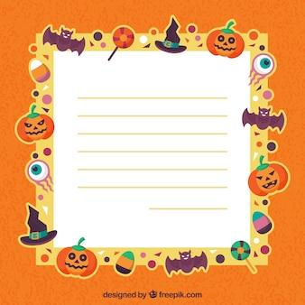 Carta do dia das bruxas em design plano