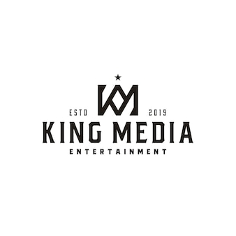 Carta do rei coroa vintage km ou monograma km mk logotipo