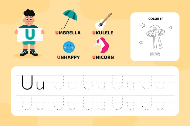 Carta educacional u, planilha com ilustrações