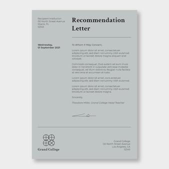 Carta educativa de recomendação de monocolor minimalista