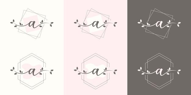 Carta feminina com modelo de logotipo floral