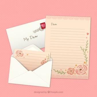 Carta floral para o dia dos namorados