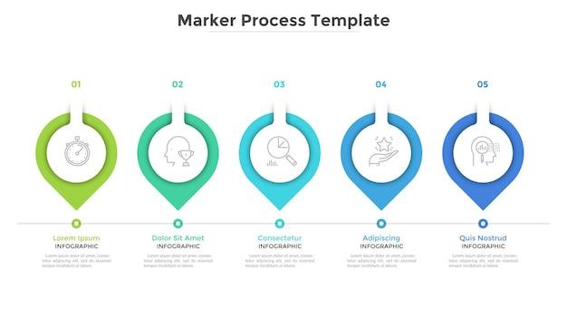 Carta horizontal com 5 marcadores de papel ou ponteiros. conceito de cinco fases ou etapas do processo de desenvolvimento de negócios. modelo de design plano infográfico. ilustração vetorial moderna para barra de progresso.