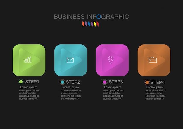 Carta infographic do vetor, conceito do negócio com 4 opções.