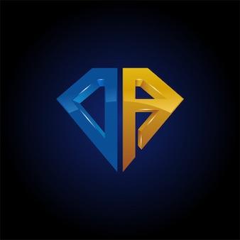 Carta inicial de da com modelo de ícone de logotipo de forma de diamante
