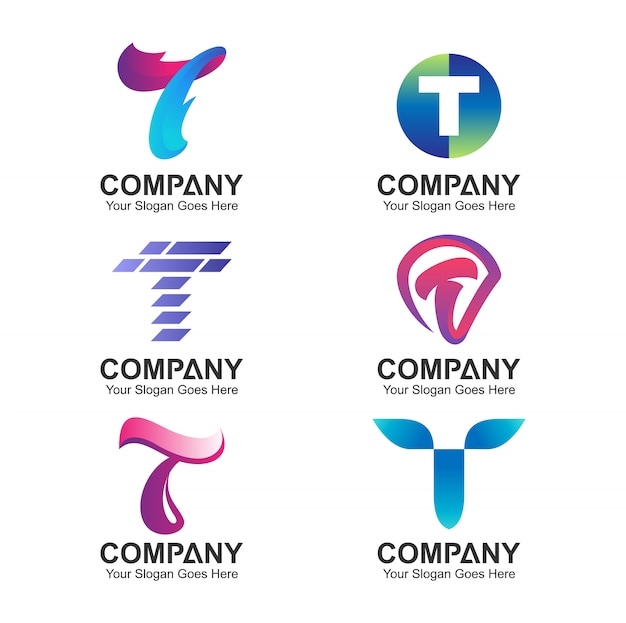 Carta inicial t logo collection