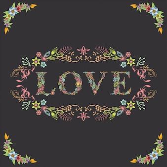 Carta linda amor com borda floral
