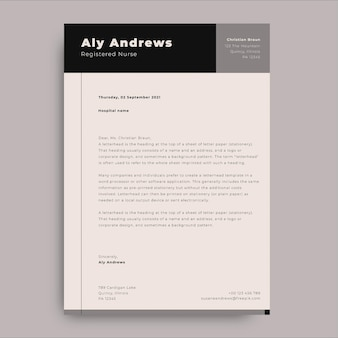 Carta médica de capa geométrica minimalista aly enfermeira registrada