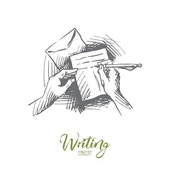 Carta, papel, escrita, conceito de caneta. mão desenhada pessoa escrevendo papel carta conceito esboço.