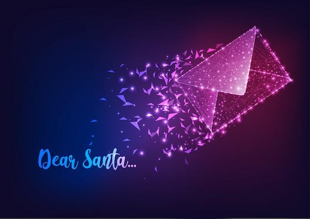 Carta para o papai noel com correio e texto voador poligonal baixo brilhante querido papai noel.