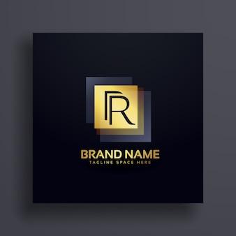 Carta r conceito de design de logotipo premium em ouro