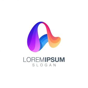 Carta um design de logotipo de cor gradiente
