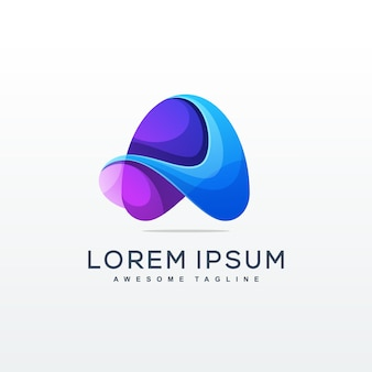 Carta um modelo de logotipo premium colorido