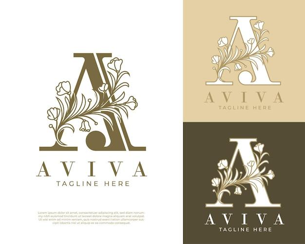 Carta um modelo decorativo de logotipo feminino