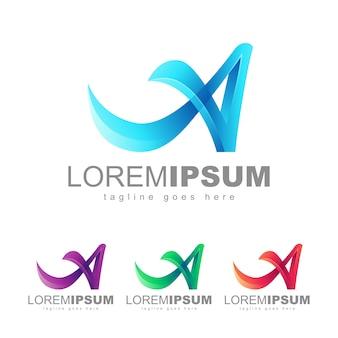 Carta um vetor de design de logotipo