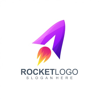 Carta uma ilustração de design de logotipo de foguete