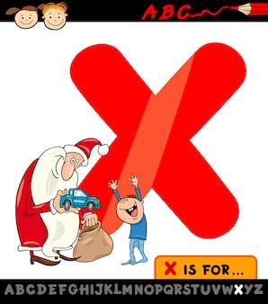 Carta x com ilustração de desenho animado xmas