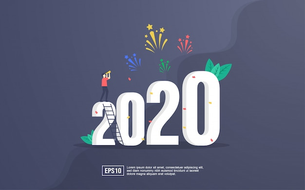 Cartão 2020 com pessoas comemorando o ano novo e assistindo explosões de fogos de artifício no céu à noite