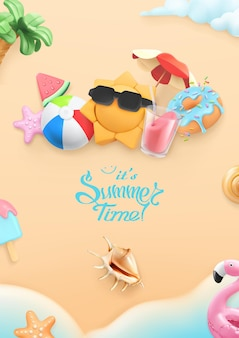 Cartão 3d de horário de verão com praia, sol, guarda-chuva, coquetel, concha