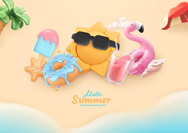 Cartão 3d de verão, férias na praia com objetos de mar, sol, donut, sorvete, coquetel, flamingo