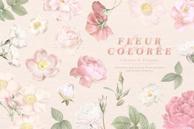 Cartão aberto empoeirado de flores