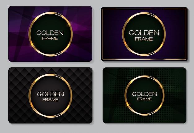 Cartão abstrato com conjunto de coleta de moldura dourada