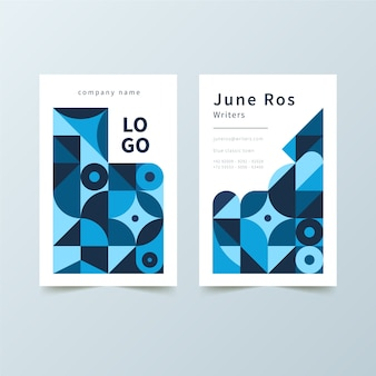 Cartão abstrato com formas azuis
