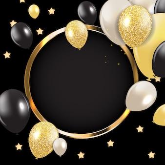 Cartão abstrato com moldura dourada e balões