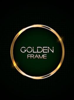Cartão abstrato com moldura dourada