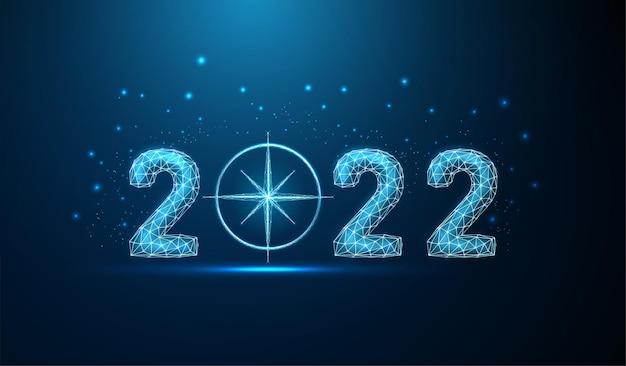 Cartão abstrato de ano novo de 2022 com bússola fundo de estilo poli baixo vetor de estrutura de arame