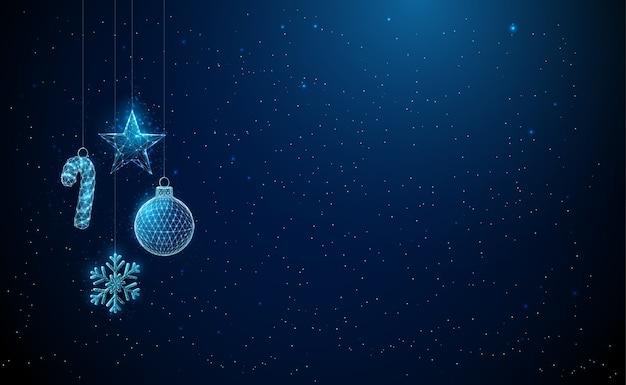 Cartão abstrato de feliz ano novo com brinquedos de natal pendurados