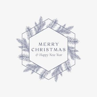Cartão abstrato de feliz natal cartão botânico com banner de moldura hexagonal
