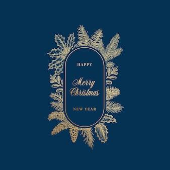Cartão abstrato de feliz natal cartão botânico com moldura oval