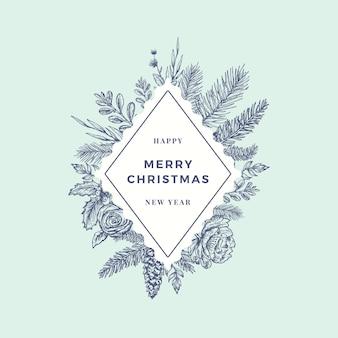 Cartão abstrato de feliz natal logotipo botânico ou cartão com banner de moldura em losango