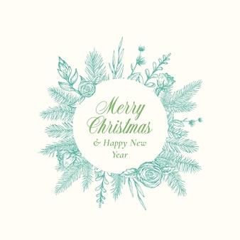 Cartão abstrato de feliz natal logotipo botânico ou cartão com moldura circular