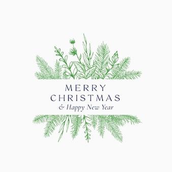 Cartão abstrato do feliz natal logotipo botânico ou cartão com moldura