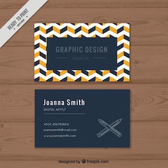Cartão abstrato empresa com linhas zig-zag brancas