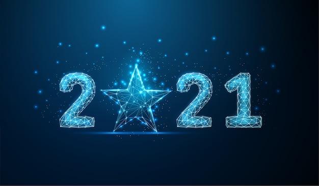 Cartão abstrato feliz ano novo 2021 com estrela azul. design de estilo low poly. fundo geométrico abstrato. estrutura de luz em wireframe. conceito gráfico 3d moderno. ilustração isolada do vetor.