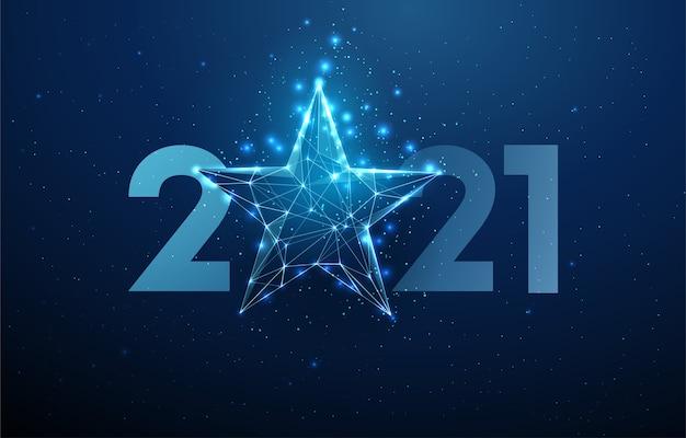 Cartão abstrato feliz ano novo 2021 com estrela azul. design de estilo low poly. fundo geométrico abstrato. estrutura de luz em wireframe. conceito gráfico 3d moderno. isolado