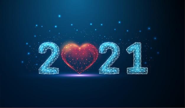 Cartão abstrato feliz ano novo 2021 com forma de coração. design de estilo low poly. fundo geométrico abstrato. estrutura de luz em wireframe. conceito gráfico 3d moderno. isolado