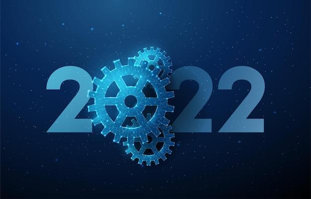 Cartão abstrato feliz ano novo 2022 com roda dentada