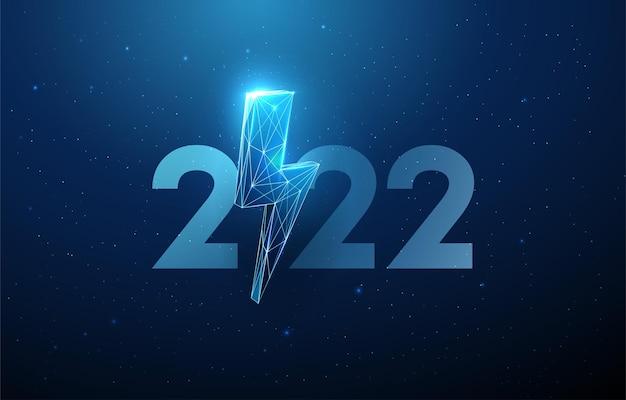 Cartão abstrato feliz ano novo de 2022 com design de estilo low poly relâmpago vetor de estrutura de arame