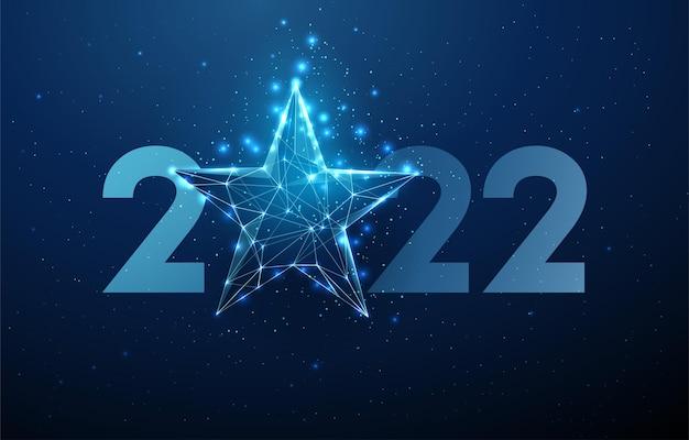 Cartão abstrato feliz ano novo de 2022 com estrela azul estilo low poly