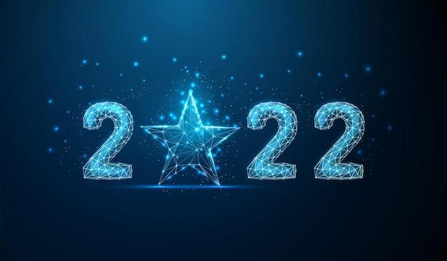 Cartão abstrato feliz ano novo de 2022 com estrela azul