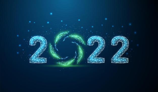 Cartão abstrato feliz ano novo de 2022 com folhas verdes em círculo vetor de design de estilo poli baixo