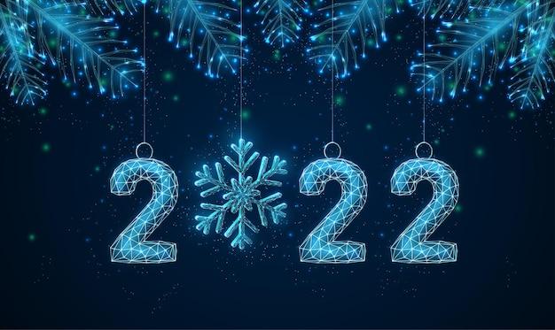 Cartão abstrato feliz ano novo de 2022 com galhos de árvores em forma