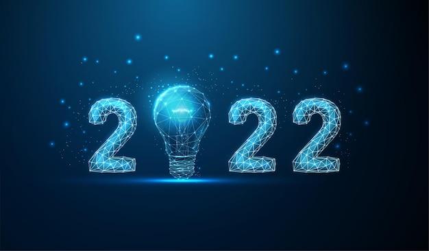 Cartão abstrato feliz ano novo de 2022 com lâmpada design de estilo poli baixo vetor de estrutura de arame