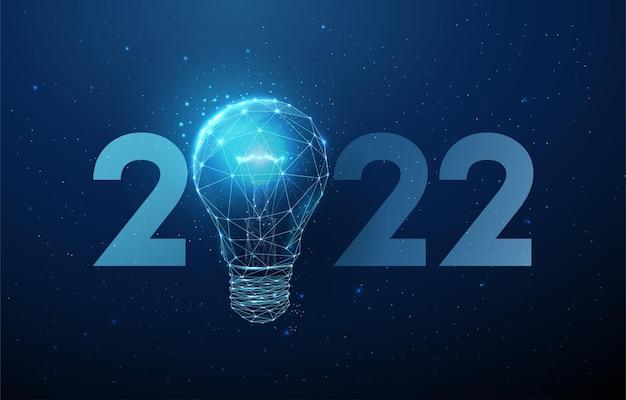 Cartão abstrato feliz ano novo de 2022 com lâmpada